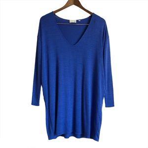 WILFRED FREE Soft Pocket V Neck Mini Dress Blue